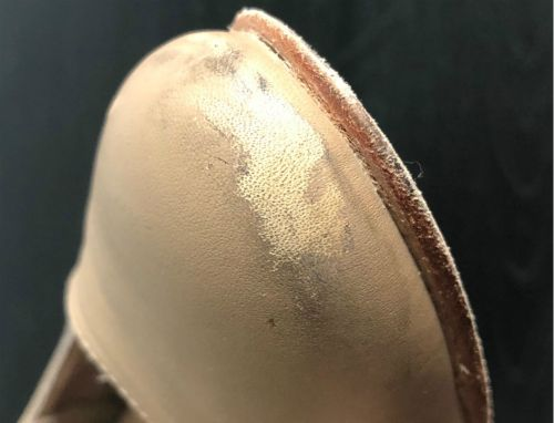 wearing on the toe of the capezio manhattan character shoe